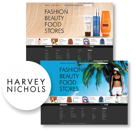 case study website view of Harvey Nichols
