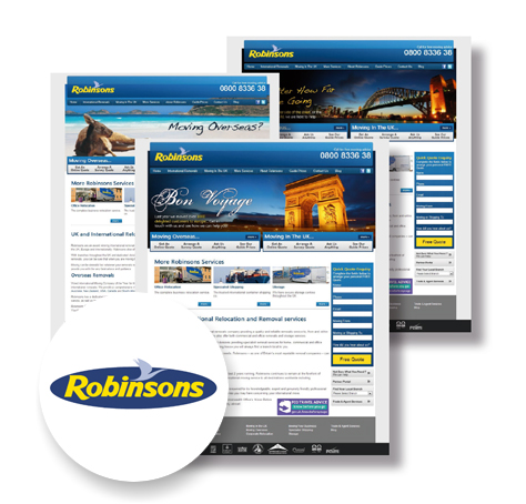 Customer case study website view of Robinsons Relocations